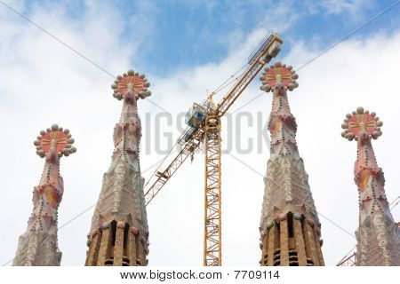 Four Sagrada Familia's Towers And One Crane