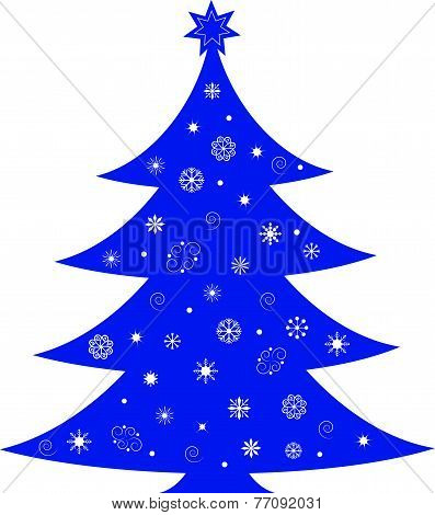 Isolated Blue  Christmas Tree  Vector