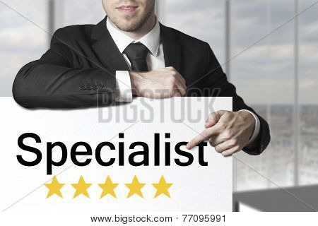 Businessman Pointing On Sign Specialist Five Stars