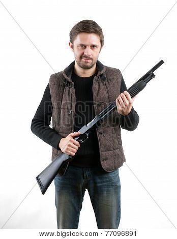 Brutal Man With Shotgun On White Background