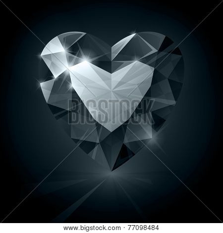 Black shiny diamond heart shape on black background