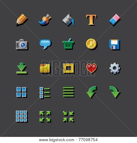 Colorful web app graphic editor tools icons