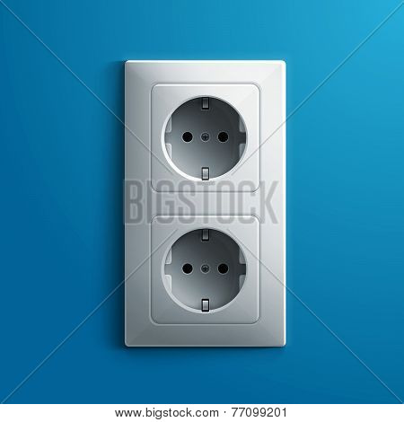 Realistic electric white double socket on blue wall background