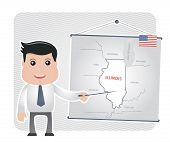 image of illinois  - Man with a pointer points to a map of ILLINOIS on a blackboard - JPG