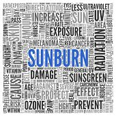 picture of sunburn  - Close up Blue SUNBURN Text at the Center of Word Tag Cloud on White Background - JPG
