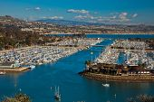 stock photo of u-boat  - Aerial view of boats docked in Dana Point Harbor southern Orange County California - JPG