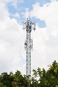 image of lightning-rod  - Close up white color antenna repeater tower on blue sky - JPG
