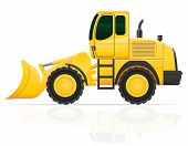 picture of bulldozer  - bulldozer for road works vector illustration isolated on white background - JPG