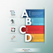 image of four  - Modern infographics options banner with 4 realistic colorful ribbons and big letters for 4 options - JPG