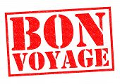 stock photo of bon voyage  - BON VOYAGE red Rubber Stamp over a white background - JPG