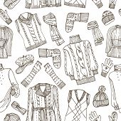 stock photo of knitted cap  - Outline Fashionable female knitted  clothing and accessories seamless pattern - JPG