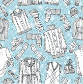 pic of knitted cap  - Outline Fashionable female knitted  clothing and accessories seamless pattern - JPG