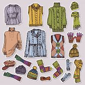 foto of knitted cap  - Multicolored Fashionable female knitted clothing and accessories set on Sketchy style - JPG