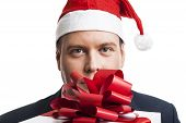 picture of boxing day  - man holding a gift box on a white background - JPG