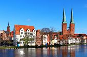 stock photo of dom  - Lubeck old town with Lubeck Cathedral  - JPG