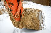 stock photo of dredge  - Dredge ladle close up in the winter - JPG