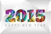 picture of decorative  - Happy New Year 2015 with happy colorful triangles background - JPG