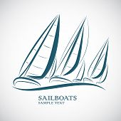 picture of sailing vessels  - sailing boats on sea symbol icon vector - JPG