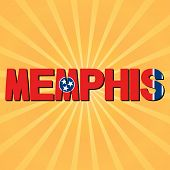 stock photo of memphis tennessee  - Memphis flag text with sunburst illustration - JPG