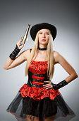 image of pirate hat  - Woman pirate with gun wearing hat - JPG