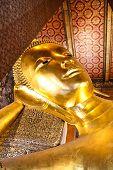 picture of recliner  - Reclining Buddha gold statue Wat Pho Bangkok Thailand - JPG