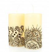 pic of mehendi  - Beautiful candles with mehendi - JPG