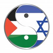 stock photo of mosk  - Ying yan symbol with the Israeli and Palestinian flags - JPG
