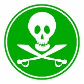 stock photo of saber-toothed  - Jolly Roger sign button on white background - JPG