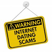 foto of hookup  - Warning of Internet Dating Scams Sign A yellow and black warning sign with the words Internet Dating Scams isolated on a white background - JPG