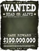 stock photo of cash cow  - Illustration of a vintage old wanted placard poster template with dead or alive inscription cash reward on chalkboard background - JPG