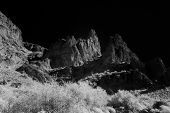 stock photo of superstition mountains  - Infrared photo of mountains in the desert - JPG