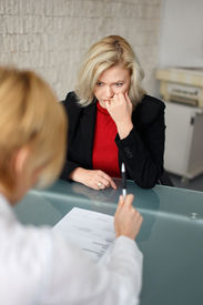 stock photo of fail job  - Dismissal or failed job interview concept in office - JPG