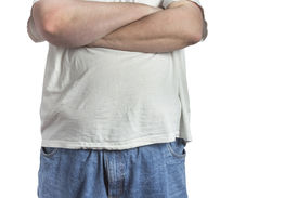 foto of bulging belly  - overweight Man in blue jeans and white t - JPG