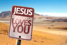 stock photo of desert christmas  - Jesus Loves You sign with a desert background - JPG