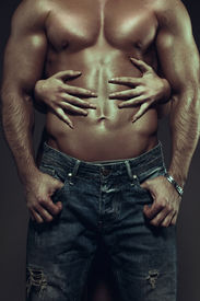 image of hot couple  - Hot couple at night woman hands embracing sexy man abs vintage style - JPG