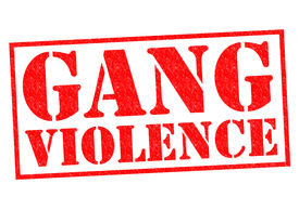 stock photo of gang  - GANG VIOLENCE red Rubber Stamp over a white background - JPG
