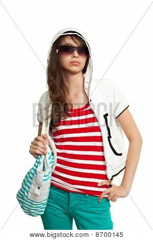 Stylish Teenage Girl With Backpack