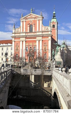 Triple Bridge (tromostovje), Preseren Square And Franciscan Church, Ljubljana, Slovenia