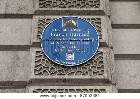 Francis Barraud (hmv) Blue Plaque In London