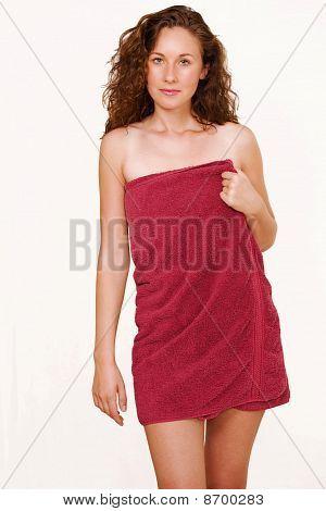 Female In Red Towel