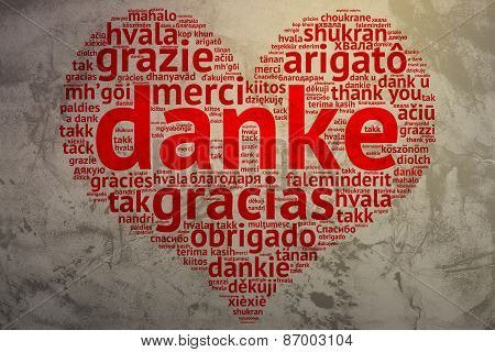 German Danke - Heart Shaped Word Cloud Thanks, Grunge Background