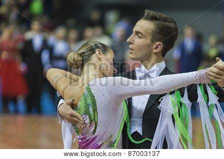 Minsk, Belarus-february 15, 2015: Unidentified Professional Dance Couple Performs Youth-2 Program