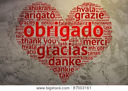 Portuguese: Obrigado, Heart Shaped Word Cloud Thanks, Grunge Background