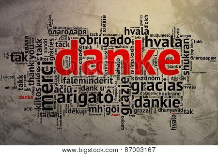 German Danke, Open Word Cloud, Thanks, Grunge Background