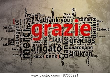 Italian - Grazie, Open Word Cloud, Thanks, Grunge Background