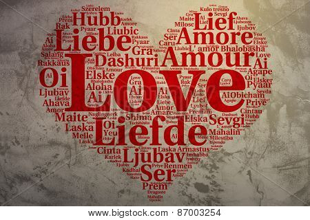 English: Love. Heart Shaped Word Cloud Love, Grunge Background