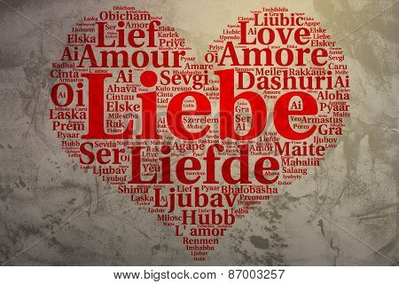 German: Liebe. Heart Shaped Word Cloud Love, Grunge Background