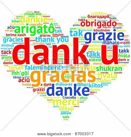 Dutch Dank U, Heart Shaped Word Cloud Thanks, On White