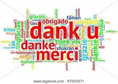 Dutch: Dank U, Open Word Cloud, Thanks, On White