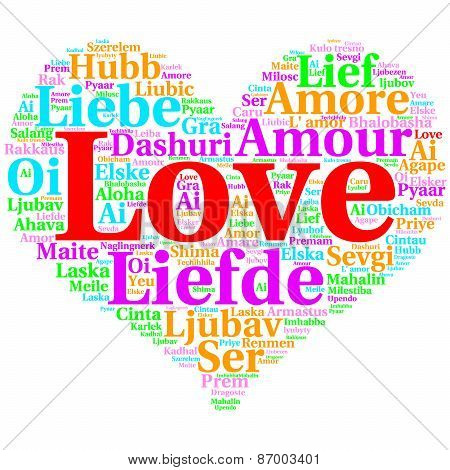 English: Love. Heart Shaped Word Cloud Love, On White